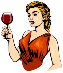 Woman With Glass Of Red Wine Sticker