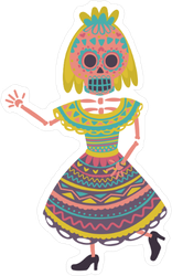 Woman With Sugar Skull Makeup Sticker