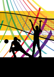 Women Volleyball Players Celebration Sticker