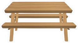 Wood Picnic Table Camping Sticker