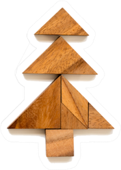 Wood Tangram Puzzle In Christmas Tree Shape Sticker