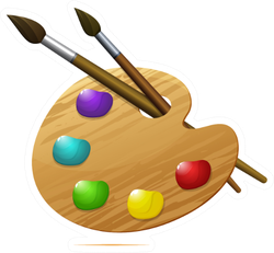 Wooden Artist's Palette With Paints And Brushes Sticker