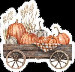 Wooden Cart With Pumpkins Watercolor Autumn Sticker