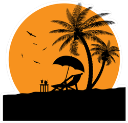 Wooden Chaise Lounge and Palm Tree Sticker