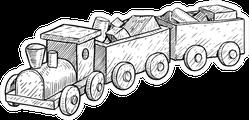 Wooden Toy Train Illustration Sticker