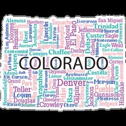 Word Art State Of Colorado Sticker