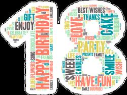 Word Cloud Eighteenth Birthday Sticker