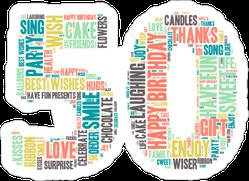 Word Cloud Fiftieth Birthday Sticker