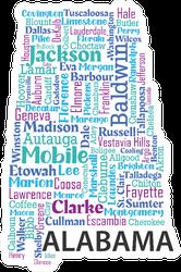 Word Cloud Map Design Alabama Sticker