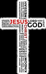 Word Cloud Of Christian Keywords In Cross Shape Sticker