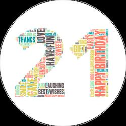 Word Cloud Twenty First Birthday Sticker