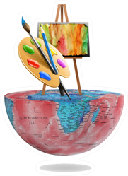 World Art Day, Woman Painting On Easel Sticker