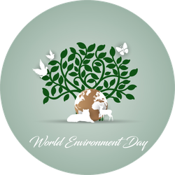 World Environment Day With Tree Earth And Animals Sticker