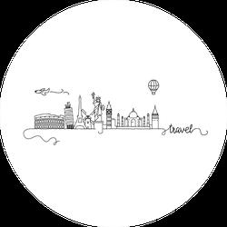 World Famous Cities Skyline Doodle Hot Air Balloon Sticker