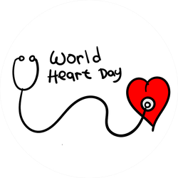 World Heart Day Heart With Stethoscope Illustration Sticker