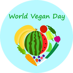 World Vegan Day Food Heart Sticker