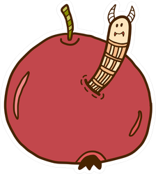 Worm In Apple Sticker
