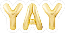 Yay Golden Inflatable Balloon Sticker