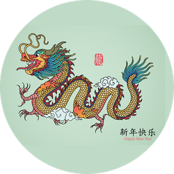 Year Of Dragon Illustration Sticker