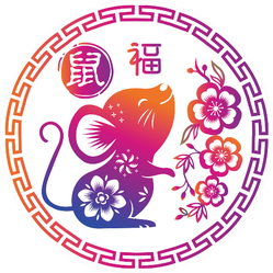 Year Of The Rat Circle Sticker