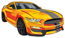 Yellow and Black Mustang Sports Car Sticker