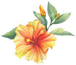 Yellow and Red Hibiscus Flower Sticker