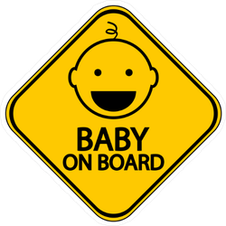 Yellow Baby on Board Sign Sticker with Cheerful Baby