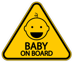 Yellow Baby on Board Sign Sticker with Happy Baby