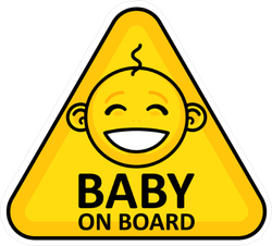 Yellow Baby on Board Sign Sticker with Smiling Baby