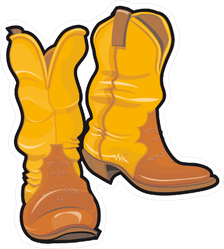 Yellow Cowboy Boots Sticker