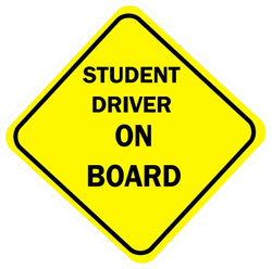 Yellow Diamond Sign Student Driver On Board Sticker