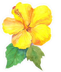 Yellow Hibiscus Flower Watercolor Sticker