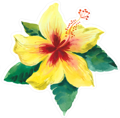 Yellow Hibiscus Flower With Green Leaves Sticker