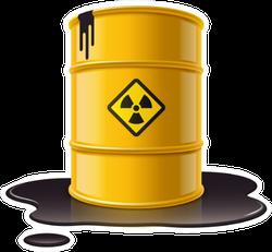 Yellow Metal Barrel With Radioactive Waste Sticker