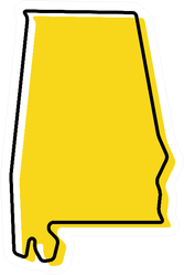Yellow Outline Map Of Alabama Sticker