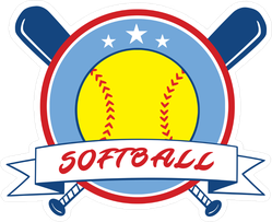 Yellow Red and Blue Softball Sticker