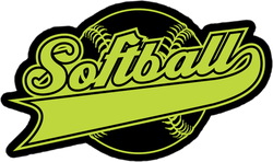 Yellow Softball Design With Ribbon Sticker