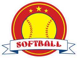 Yellow Softball Logo With Banner Sticker