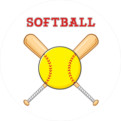 Yellow Softball Over Crossed Bats Circle Sticker