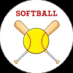 Yellow Softball Over Crossed Bats Circle Sticker