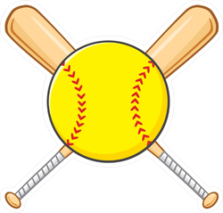 Yellow Softball Over Crossed Bats Sticker