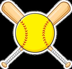 Yellow Softball Over Crossed Bats Sticker