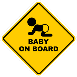 Yellow Square Baby on Board Sticker