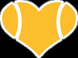 Yellow Tennis Ball Heart Sticker