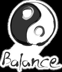 Yin Yang Balance Illustration With Chinese Brush Sticker
