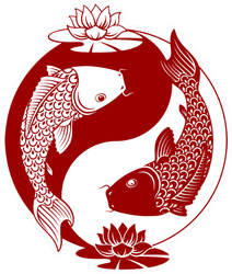 Yin Yang Koi Fish Illustration Sticker