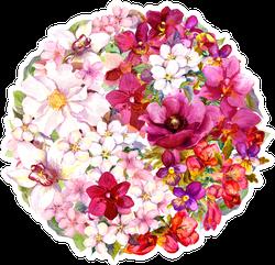 Yin Yang Symbol With Flowers Sticker
