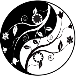 Yin Yang Symbol With Ornaments Sticker