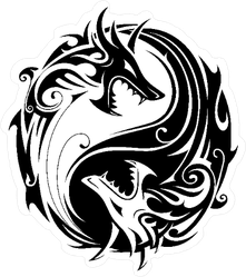 Yin Yang Two Fighting Dragons Sticker