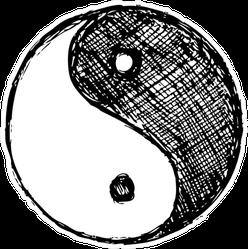 Ying Yang Sketch Symbol Sticker